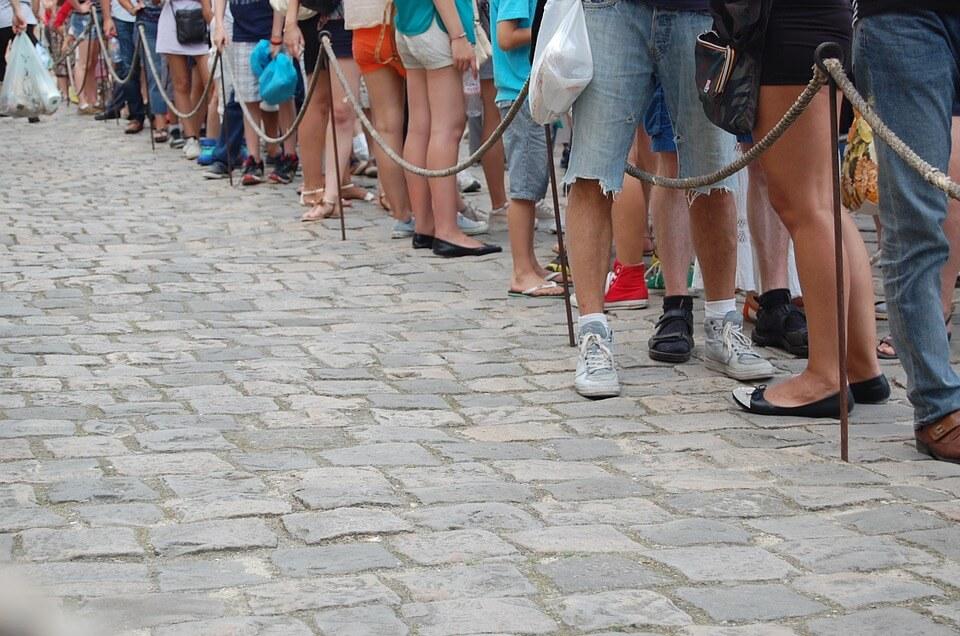 People queueing