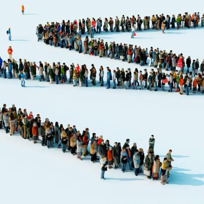 very long queue
